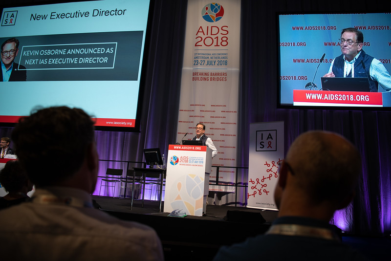 22nd International AIDS Conference (AIDS 2018) Amsterdam, Netherlands.   Copyright: Steve Forrest/Workers' Photos/ IAS  Photo shows: Kevin Osborne, speaking during the IAS Members' Meeting.