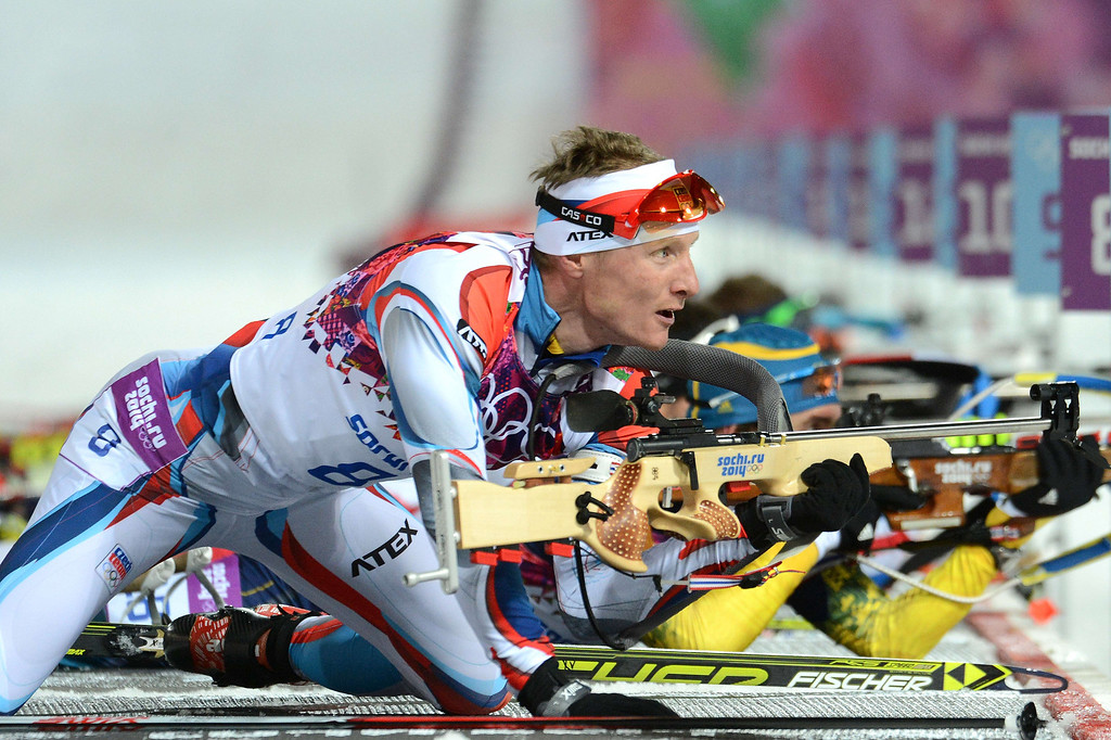 . Czech Republic\'s Ondrej Moravec arrives at the range as he competes to win silver in the Men\'s Biathlon 12,5 km Pursuit at the Laura Cross-Country Ski and Biathlon Center during the Sochi Winter Olympics on February 10, 2014 in Rosa Khutor near Sochi.   KIRILL KUDRYAVTSEV/AFP/Getty Images