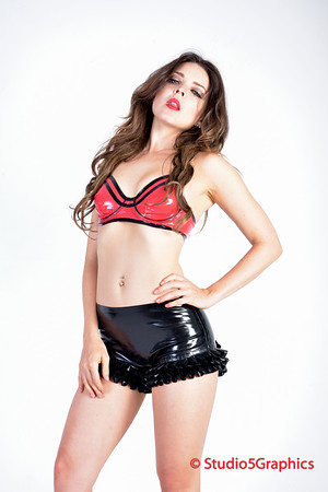 Rebel black on red latex shoot