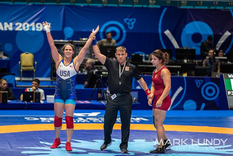 Champ. Round 1: Adeline Maria Gray (United States) over Eleni Pjollaj (Italy)  •  TF 10-0 - 2019 World Championships