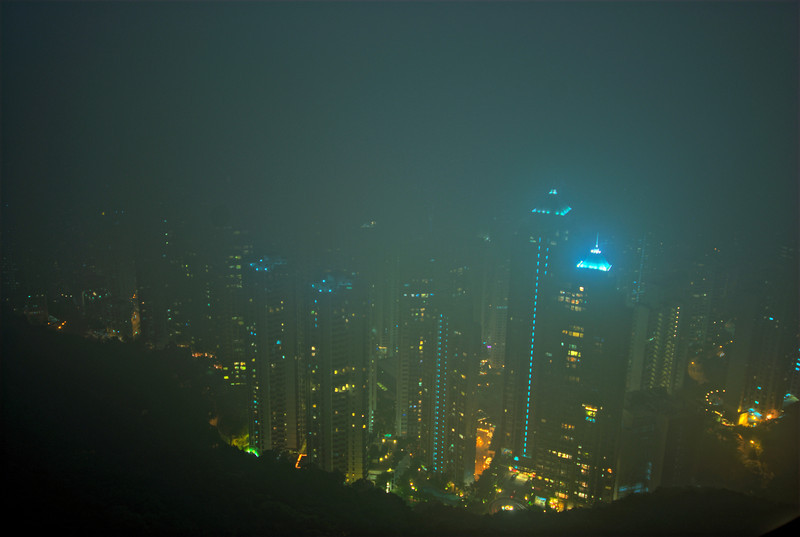 Foggy shot of the Hong Kong city skyline at night