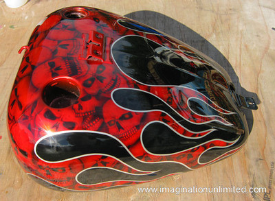 Harley Softail Red Flamed Skull