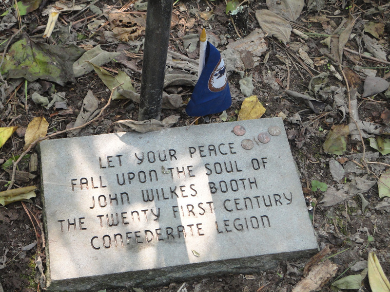 A marker left at the site ...