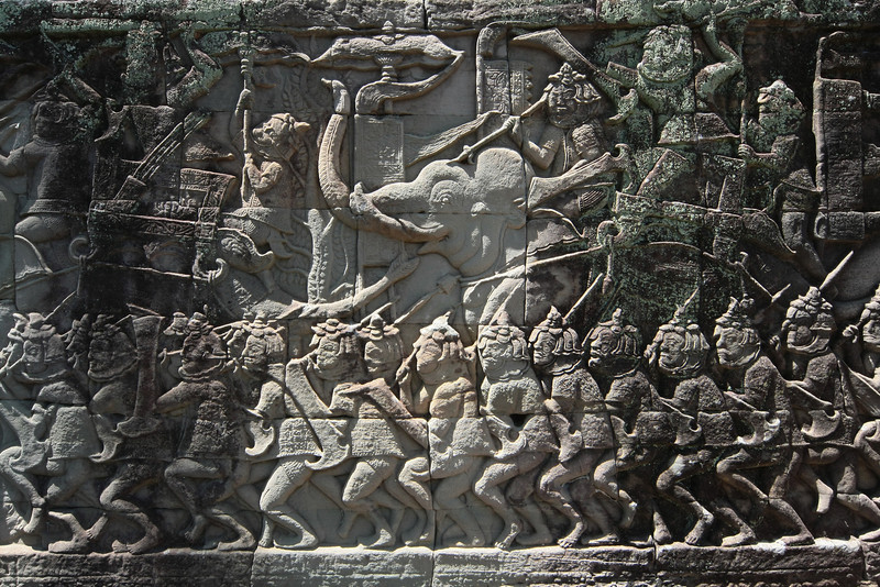 Carvings in Bayon temple, Angkor