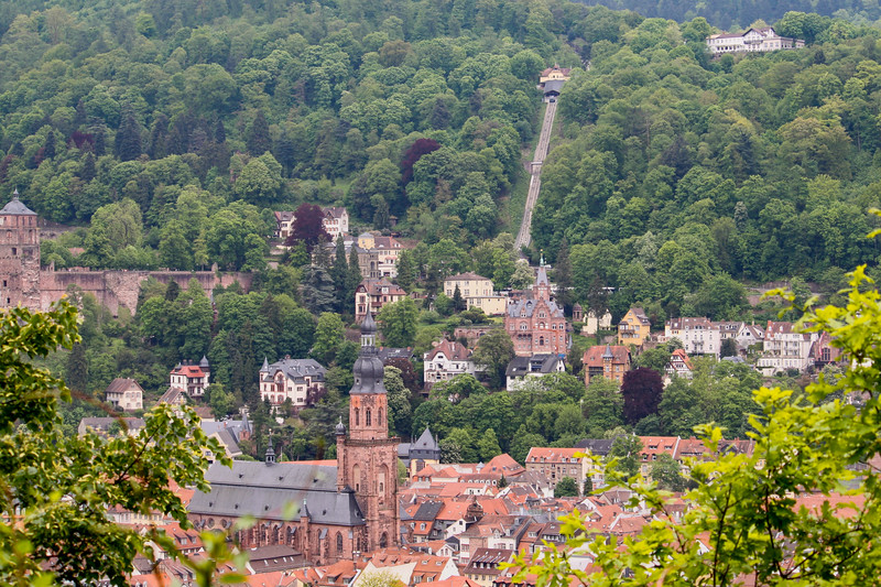 View of the old part of Heidelberg: Heiliggeistkirche (Holy Ghost Church) in the foreground and the funicular up to Königstuhl in the background