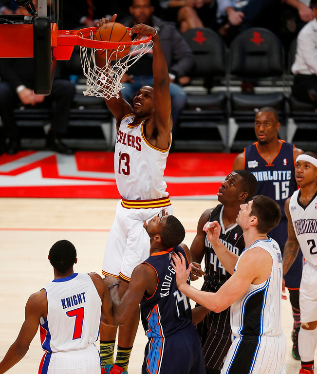 . Cleveland Cavaliers Tristan Thompson (13) goes in for a dunk during the first half of the NBA BBVA Rising Star Challenge basketball game in Houston, Texas, February 15, 2013. REUTERS/Jeff Haynes