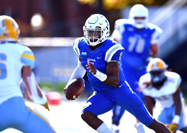 10/26/2019 Mike Orazzi | StaffrCCSU's Aaron Winchester (1) during Saturday's football game with Long Island University in New Britain.
