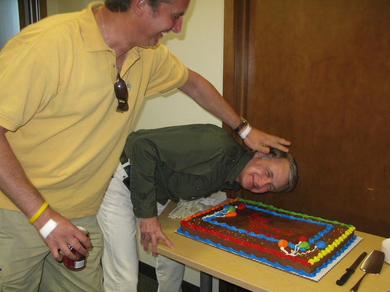 Howard's retirement lunch. Steve up to his usual pranks.