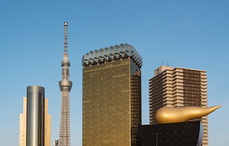 Sumida Ward Office, Skytree Tower and Asahi headquarters building, Tokyo, Japan