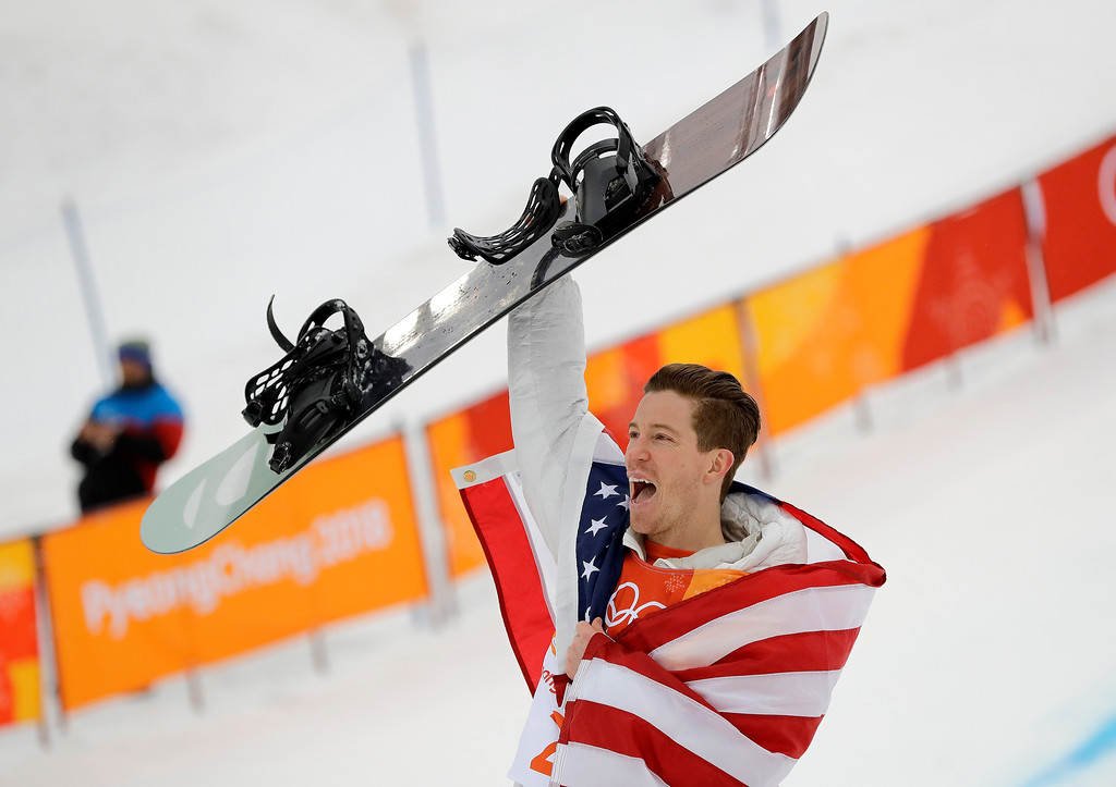 . Gold medal winner Shaun White, of the United States, reacts after finishing his run during the men\'s halfpipe finals at Phoenix Snow Park at the 2018 Winter Olympics in Pyeongchang, South Korea, Wednesday, Feb. 14, 2018. (AP Photo/Lee Jin-man)