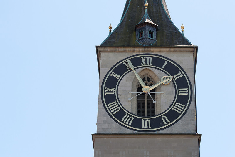 The Clock tower of St. Peter's Church in Zurich, Switzerland