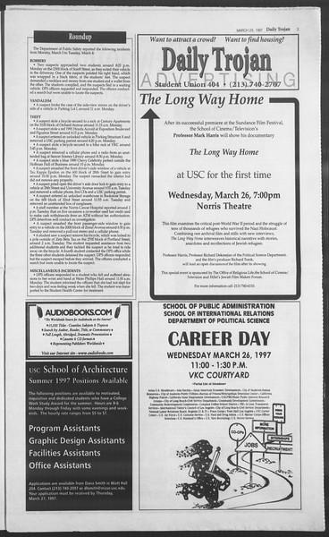 Daily Trojan, Vol. 130, No. 43, March 25, 1997
