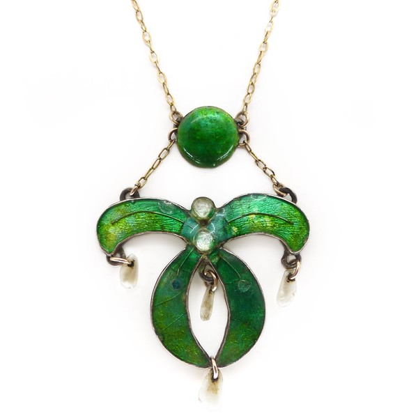 ANTIQUE ART NOUVEAU ENAMEL MISTLETOE PEARL DROP PENDANT