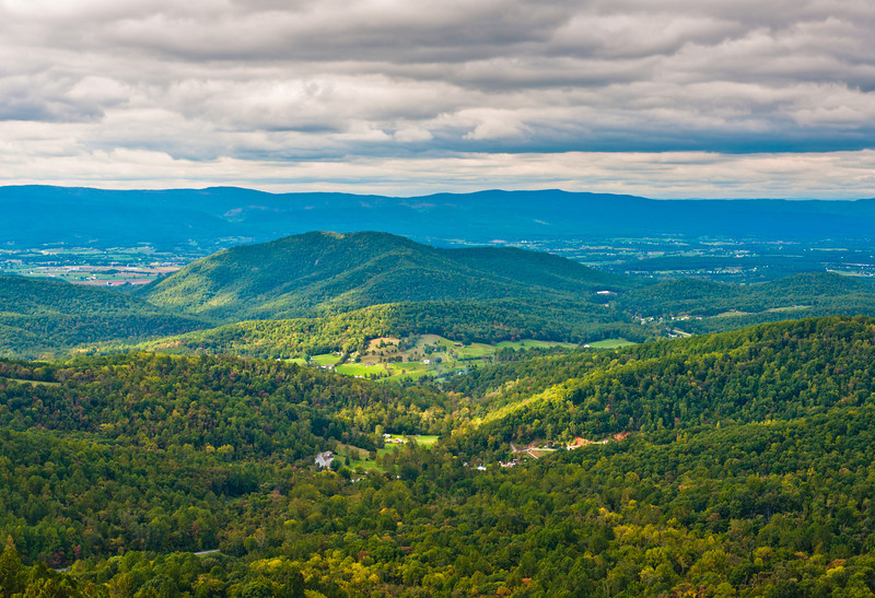 View of the Appalachians from an overlook on Skyline Drive, Shenandoah National Park, Virginia.