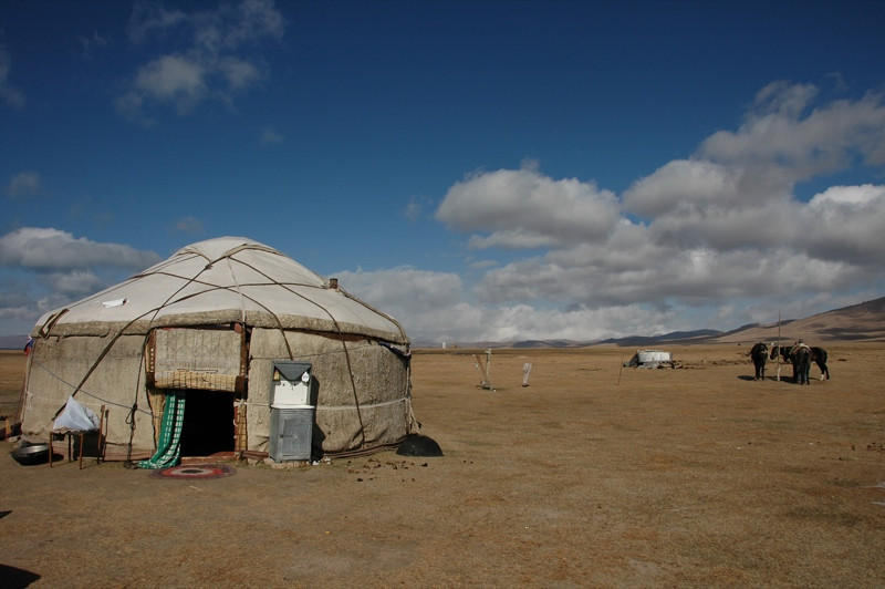 Yurt and Clouds - Song Kul, Kyrgyzstan