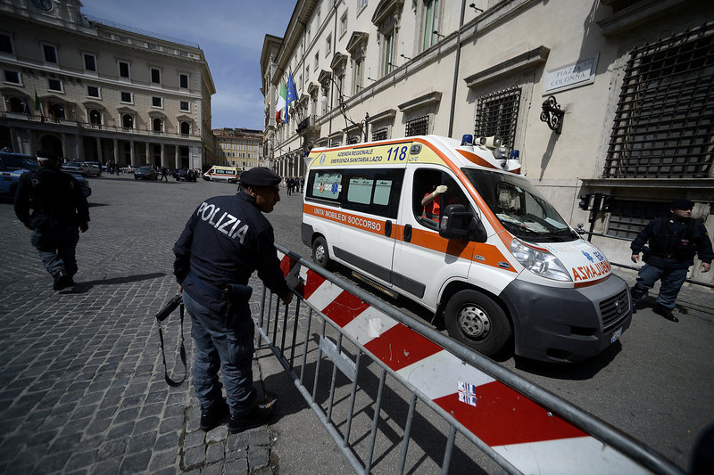 . An ambulance leaves the area where a Carabiniere police officer was shot by an apparently disturbed man, on April 28, 2013 in Rome, outside the palazzo Chigi, the Italian Prime minister offices, while the country\'s new ministers were being sworn in. Two policemen were wounded, as well as a passerby, in the shooting. The attacker, named by Italian media as businessman Luigi Preiti, 49, was tackled to the ground by by police as witnesses fled the scene.   FILIPPO MONTEFORTE/AFP/Getty Images