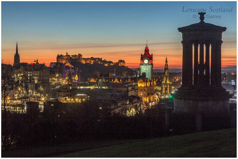 Edinburgh Castle and central Edinburgh from Calton Hill at dusk (06)