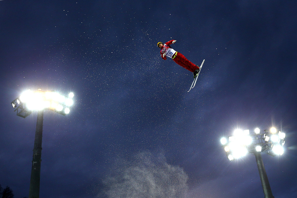 . Ilya Burov of Russia competes in the Freestyle Skiing Men\'s Aerials Qualification on day ten of the 2014 Winter Olympics at Rosa Khutor Extreme Park on February 17, 2014 in Sochi, Russia.  (Photo by Cameron Spencer/Getty Images)