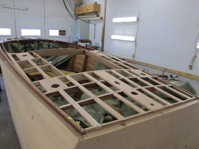 Another view of rear deck with new framing and battens installed.