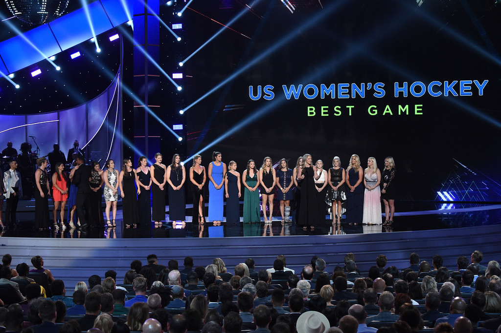 . The U.S. women\'s hockey team accepts the award for best game for defeating Canada in the 2018 Winter Olympics, at the ESPY Awards at the Microsoft Theater on Wednesday, July 18, 2018, in Los Angeles. (Photo by Phil McCarten/Invision/AP)