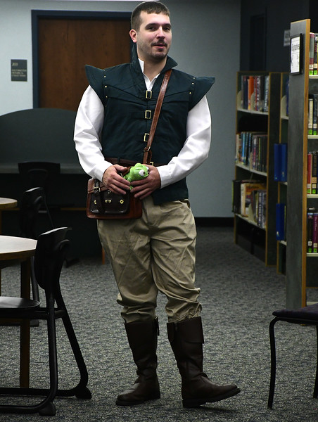 11/5/2016 Mike Orazzi | Staff Mike Pelletier as Flynn Rider during the inaugural Renaissance Fair held at the Southington Public Library on Saturday.