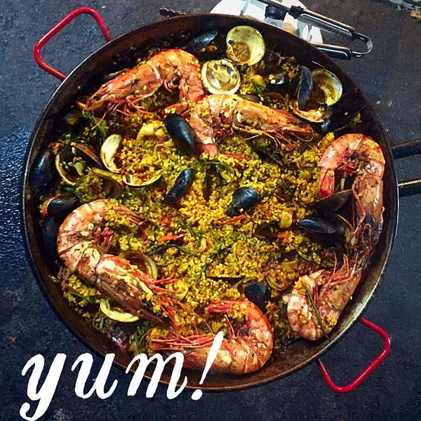 The final product: #seafood #paella thanks again @emilyjoelle @giuseppetentori @gtfishoyster for the delicious assist!!