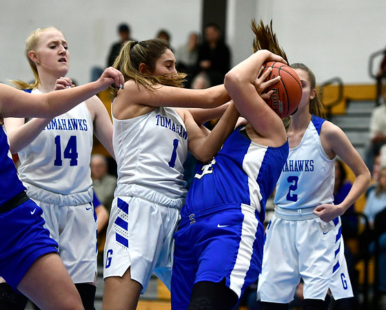 3/5/2020 Mike Orazzi | Staff Southington's Alison Barretta (32) and Glastonbury's Rachel Roman (1) during the Class LL Second Round of the CIAC 2020 State Girls Basketball Tournament at Glastonbury High School on Thursday night.