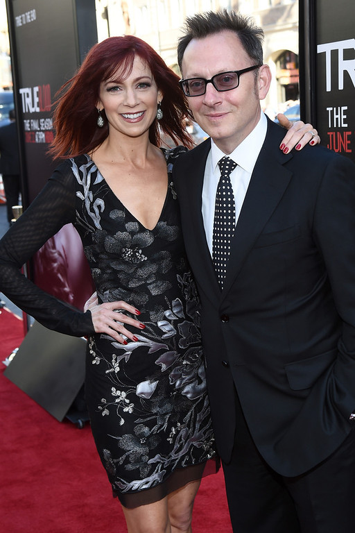 """. Actors Carrie Preston (L) and Michael Emerson attend Premiere Of HBO\'s \""""True Blood\"""" Season 7 And Final Season at TCL Chinese Theatre on June 17, 2014 in Hollywood, California.  (Photo by Michael Buckner/Getty Images)"""
