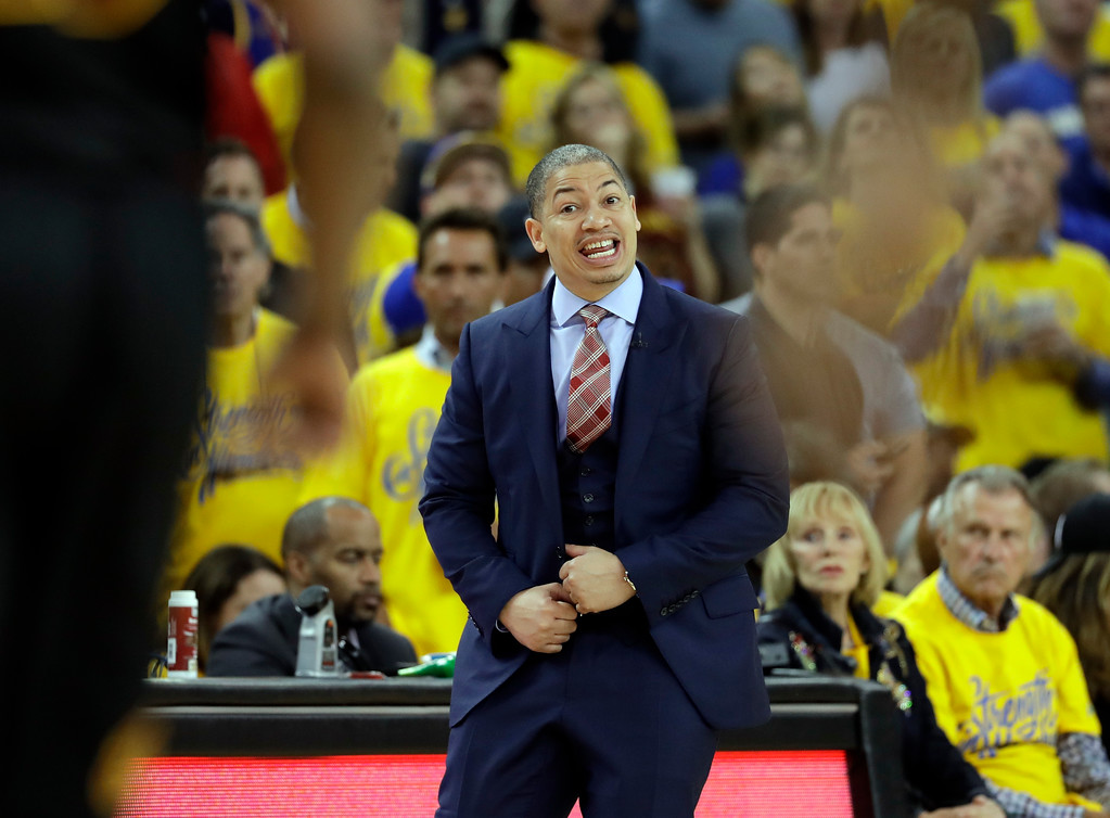 . Cleveland Cavaliers head coach Tyronn Lue reacts during the second half of Game 1 of basketball\'s NBA Finals between the Golden State Warriors and the Cavaliers in Oakland, Calif., Thursday, May 31, 2018. (AP Photo/Marcio Jose Sanchez)