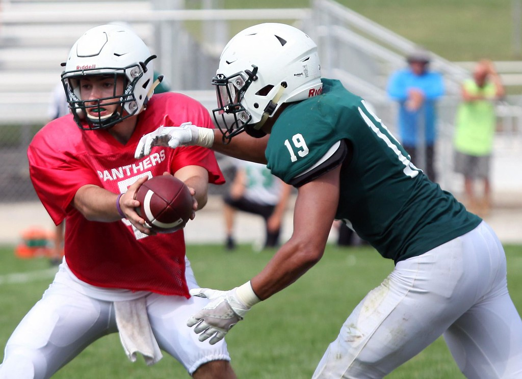 . Randy Meyers - The Morning Journal Elyria Catholic quarterback Cameron Engrish hands off to running back Nick Bender during a scrimmage against Columbia.
