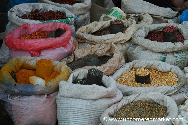 Popcorn, Beans and Spices at Market -Inle Lake, Burma