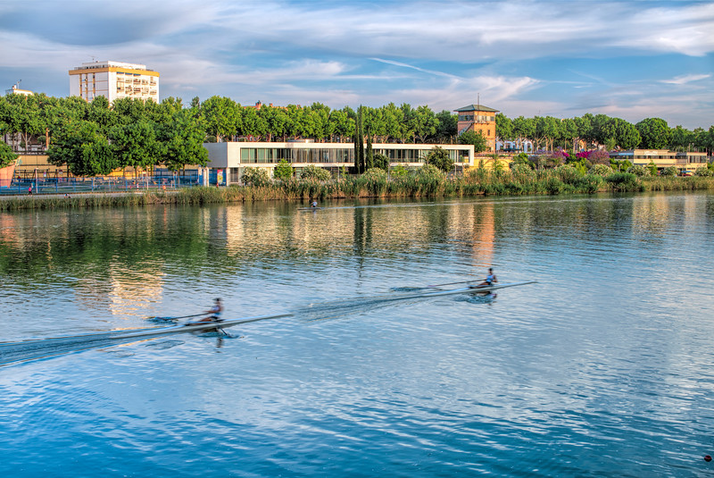 The Guadalquivir river from La Cartuja island, Seville, Spain.
