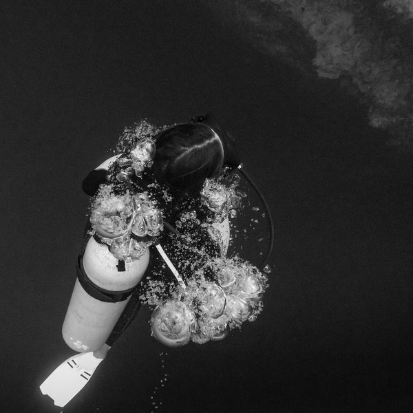 Scuba diver underwater, Belize Barrier Reef, Belize