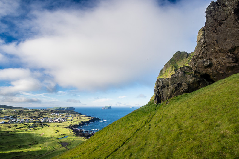 View of Heimaey and the Vestmannaeyjar islands.