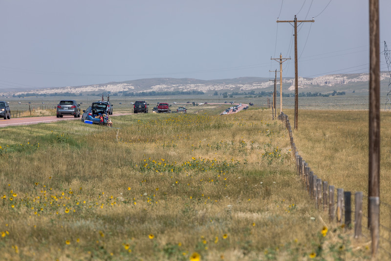 Beeline of cars rushing to get out while the eclipse was finishing.