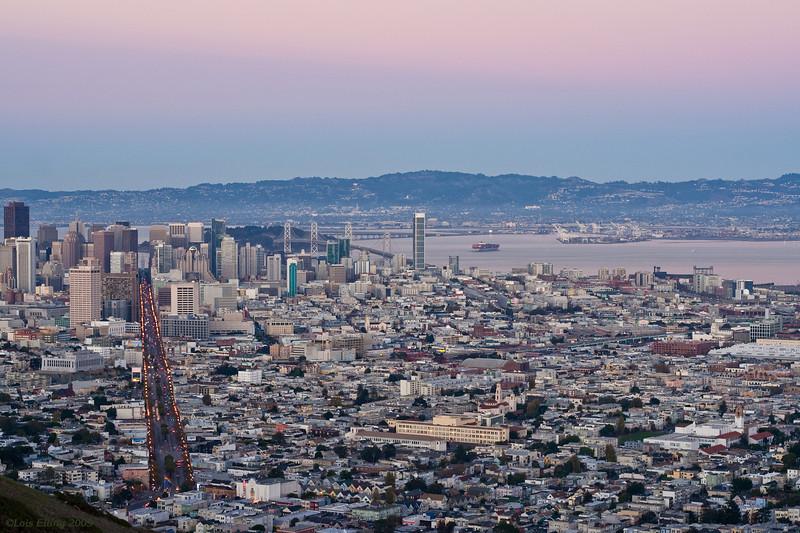Downtown San Francisco at twilight