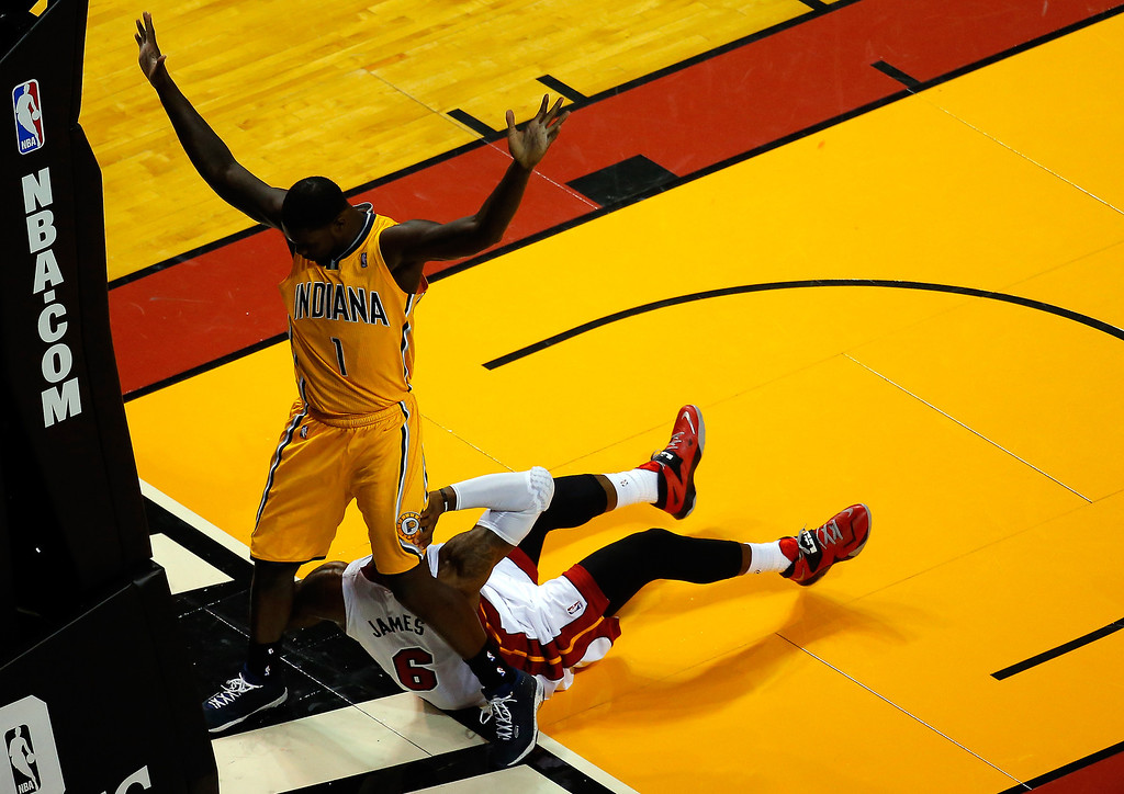 . MIAMI, FL - MAY 30:  Lance Stephenson #1 of the Indiana Pacers stands over LeBron James #6 of the Miami Heat during Game Six of the Eastern Conference Finals of the 2014 NBA Playoffs at American Airlines Arena on May 30, 2014 in Miami, Florida.  (Photo by Chris Trotman/Getty Images)