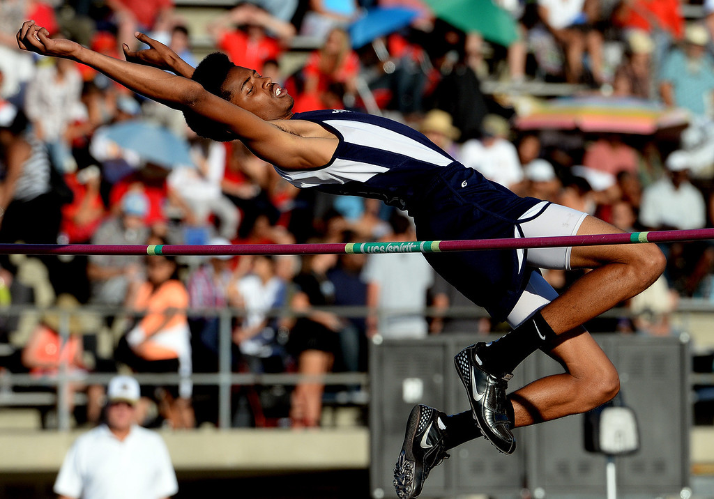 . Redlands\' Jahvad McDerrmott competes in the high jump during the CIF-SS Masters Track and Field meet at Falcon Field on the campus of Cerritos College in Norwalk, Calif., on Friday, May 30, 2014.   (Keith Birmingham/Pasadena Star-News)