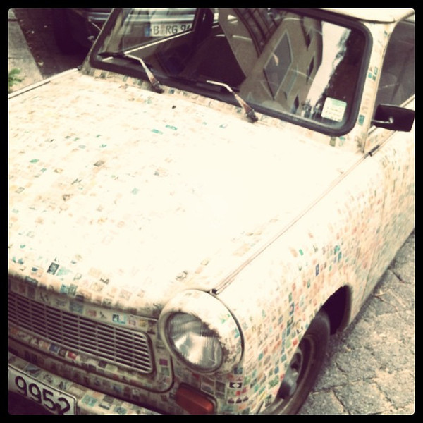 Trabant covered with postage stamps. #berlin