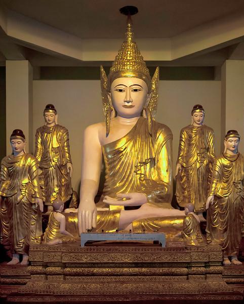 """Mahamuni Buddha at the Shwedagon Pagoda. Yangon. 16"""" x 21""""."""