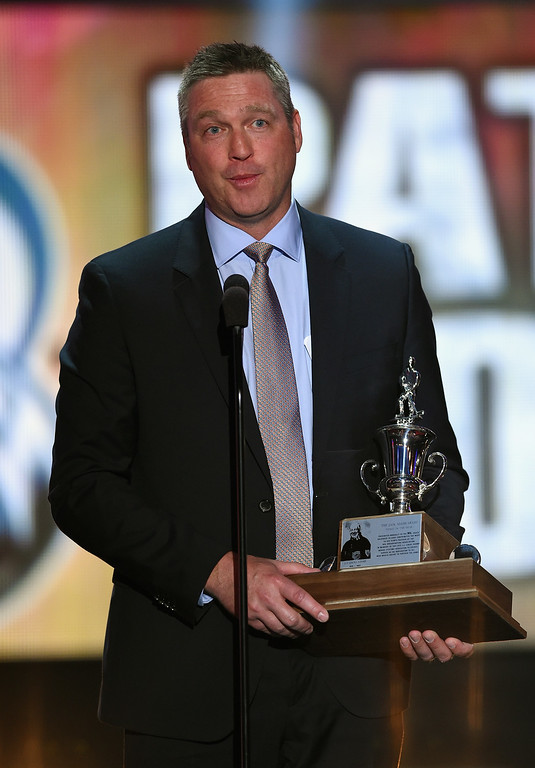 . Patrick Roy of the Coloradao Avalanche speaks after winning the Jack Adams Award during the 2014 NHL Awards at the Encore Theater at Wynn Las Vegas on June 24, 2014 in Las Vegas, Nevada.  (Photo by Ethan Miller/Getty Images)