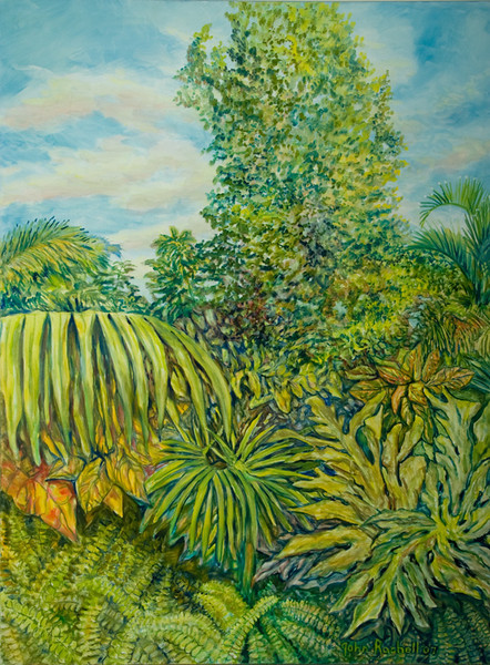 """©John Rachell  Title: The Garden, March 19, 2007 Image Size: 36"""" w by 48"""" d Dated: 2007 Medium and Support: Oil paint on canvas Signed: LR Signature"""