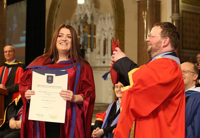 Pictured is Anne Marie Ivers, Kildare who was conferred a Doctor of Philosophy from Dr. Derek O'Byrne, Registrar of Waterford Institute of Technology (WIT). Picture: Patrick Browne. Picture: Patrick Browne