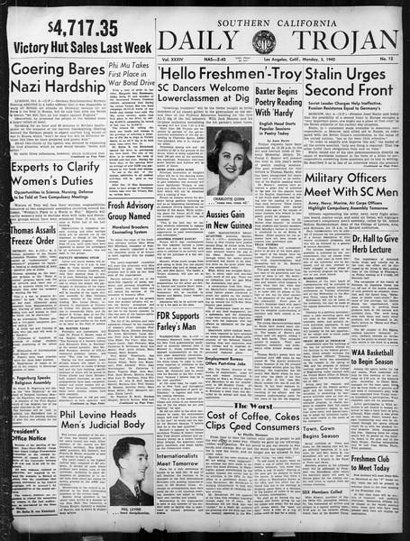 Daily Trojan, Vol. 34, No. 12, October 05, 1942