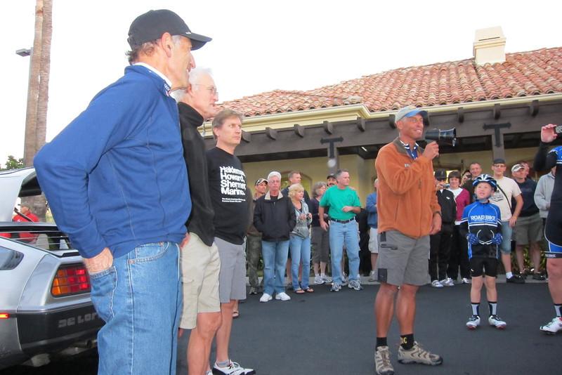 In foreground (l to r), John Marino, John Howard, Chris Kostman and Lon Haldeman with bullhorn.