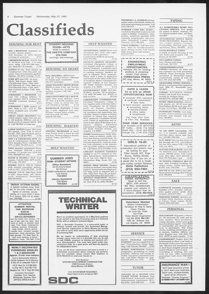 Summer Trojan, Vol. 99, No. 1, May 22, 1985
