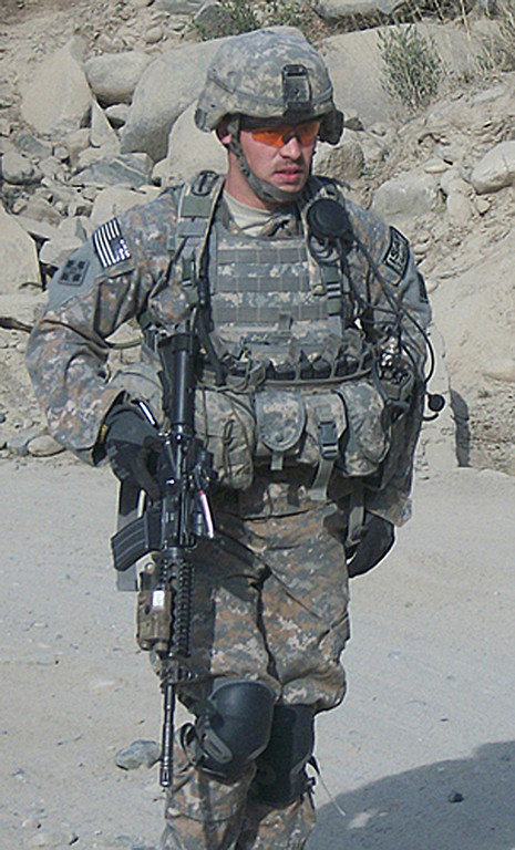 . This US Army handout image received February 11, 2013 shows former Army Staff Sgt. Clinton L. Romesha on a mission in Afghanistan in 2009. US President Barack Obama will award former Army Staff Sergeant Clinton Romesha the Medal of Honor on February 11, 2013 for conspicuous gallantry. One of his soldiers credits him with saving the lives of everyone assigned to Combat Outpost Keating on October 3, 2009, after Romesha\'s actions helped repel a massive enemy assault. He continually exposed himself to enemy fire and his courage, decisiveness and utter calm inspired his soldiers to keep fighting. US ARMY / courtesy of Clinton L. Romesha HO/AFP/Getty Images