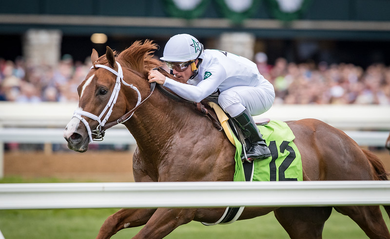 Bulletin (City Zip) wins the Palisades Turf Sprint at Keeneland on 4.4.2019. Javier Castellano up, Todd Pletcher trainer, Winstar Farm, China Horse Club and SF Racing owners.