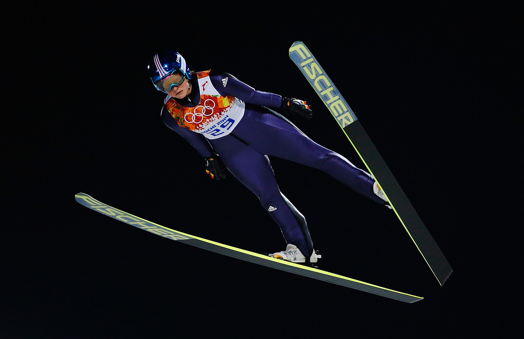 . Carina Vogt of Germany jumps during the Ladies\' Normal Hill Individual first round on day 4 of the Sochi 2014 Winter Olympics at the RusSki Gorki Ski Jumping Center on February 11, 2014 in Sochi, Russia.  (Photo by Ezra Shaw/Getty Images)