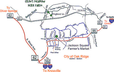 Map to reach Erin's Meadow Erin's Meadow Herb Farm Clinton, TN 6/20/07